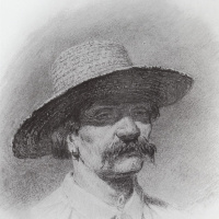 Head of a man in a straw hat