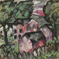 Landscape with red houses
