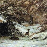 Олень в укрытии зимой
