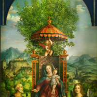 Madonna with Jesus on the throne, surrounded by St. Joseph, Archangel Raphael and Tobiah