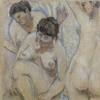 Mikhail Larionov. Three bathers with a rose. 1904
