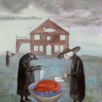 Leonora Carrington. Bird baths (canvas)