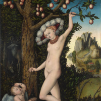 Lucas Cranach the Elder. Venus and Cupid stealing honey
