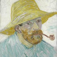 Винсент Ван Гог. Автопортрет в соломенной шляпе с трубкой