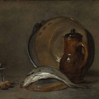 Натюрморт с медным котлом, кувшином, рыбой и стаканом