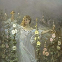 Girl among the hollyhocks (flower Fairy; Rosa)