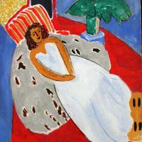 Анри Матисс. Молодая женщина в белом на красном фоне (Лежащая модель в белом платье)