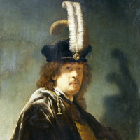 Self portrait in a hat with white feathers