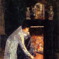 Лессер Ури. Женщина у камина