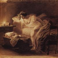 Мать, просыпающаяся от плача ребенка