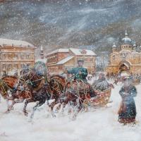 Борис Михайлович Кустодиев. Эпизод с санями