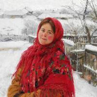 Русская женщина в красном платке на фоне пейзажа. 1923