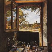 Константин Андреевич Сомов. Окно - дверь - пейзаж (Открытая дверь в сад)