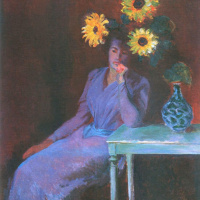 Portrait of Suzanne with sunflowers aside