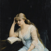 """A young woman reads """"the Question of divorce"""" by Alexander Dumas"""
