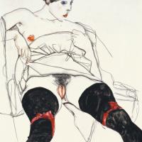Эгон Шиле. Женщина в черных чулках