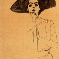 Portrait of a woman in a black hat