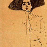 Эгон Шиле. Портрет женщины в черной шляпе