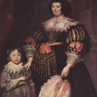Антонис ван Дейк. Портрет Шарлотты Баткинс, госпожи Ануа с сыном
