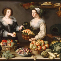 Vendor of fruits and vegetables. 1630