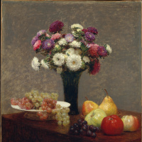 Asters and fruit on the table