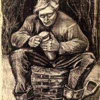 Винсент Ван Гог. Рабочий, сидящий на корзине, режущий хлеб