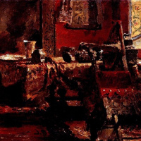 """Interior. A sketch for the painting """"Ivan the terrible and his son Ivan on 16 November 1581"""""""