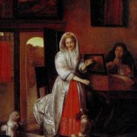 Питер де Хох. Женщина и мужчина с флейтой и танцующие собачки