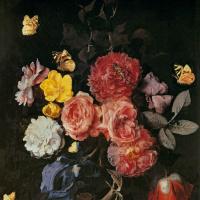 Отто Марсеус ван Шрик. Ваза с цветами и бабочками
