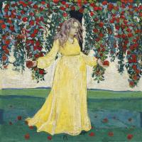 Женщина под яблоней