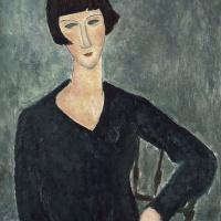 Амедео Модильяни. Портрет сидящей женщины в синем платье