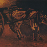 The cart drawn by a red-white Buffalo