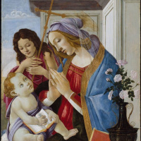 Sandro Botticelli. Madonna and child with John the Baptist