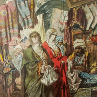 """Eastern women on the market. Copy of lithograph by A. Preziosi """"fabric Market"""""""