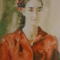 Портрет девушки в красном. 1955