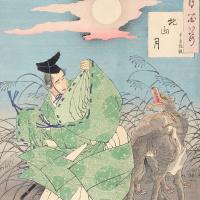 """Цукиока Ёситоси. Тоёхара Сумияки: луна над Китаямой. Серия """"100 видов луны"""""""