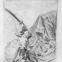 Рисунок для серии офортов Капричос: Женщина с обнаженным мечом и головы Современная Юдифь