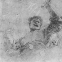 Рафаэль Санти. Бог-Отец с ангелами. Этюд к мозаике купола Капеллы Киджи