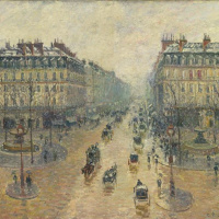 Camille Pissarro. Opera travel in Paris. The effect of snow. Morning
