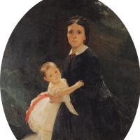 Николай Николаевич Ге. Портрет Шестовой с дочерью