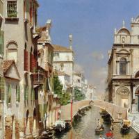Рубенса Санторо. Венецианский канал с гондольером