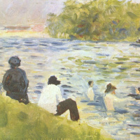 Bathers and white horse in the river