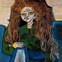 Pablo Picasso. Portrait of Madame Helene Parmelin on a green background