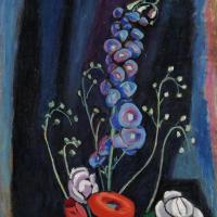 Габриель Мюнтер. Летние цветы на черном фоне