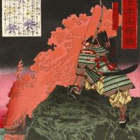 """Цукиока Ёситоси. Оно-но Ёсифуру Асон глядит на горящий корабль. Серия """"Прославленные полководцы Великой Японии"""""""
