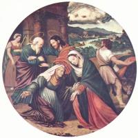 Хуан де Хуанес. Встреча Марии и Елизаветы, тондо