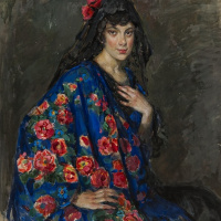Elena Andreevna Kiseleva. Portrait of an unknown woman in a shawl