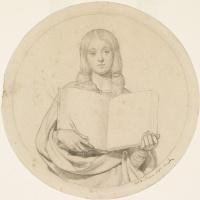 """Форд Мэдокс Браун. Девушка протестантской веры.Эскиз для картины """"Уиклиф читает свой перевод Библии"""""""