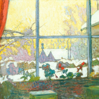 Geranium and winter landscape outside the window