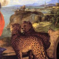 Тициан Вечеллио. Вакх и Ариадна. Фрагмент 1. Повозка с запряженными гепардами